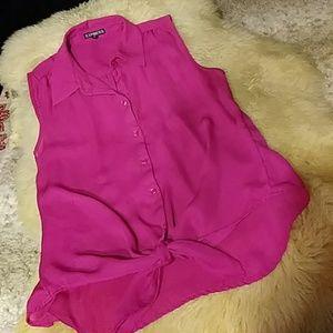 5/$25 Express hot pink tie up top sz xs